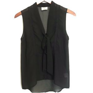 Pins & Needles Pussy Bow Sleeveless Blouse XS Blk